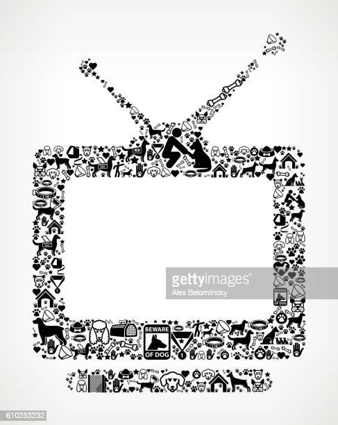 television dog and canine pet black icon pattern - television aerial stock illustrations, clip art, cartoons, & icons