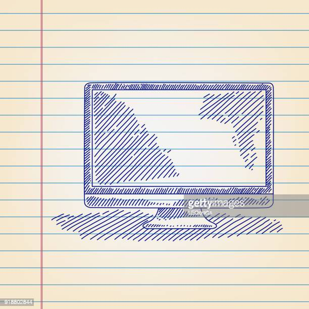 led television drawing on lined paper - pen and ink stock illustrations, clip art, cartoons, & icons