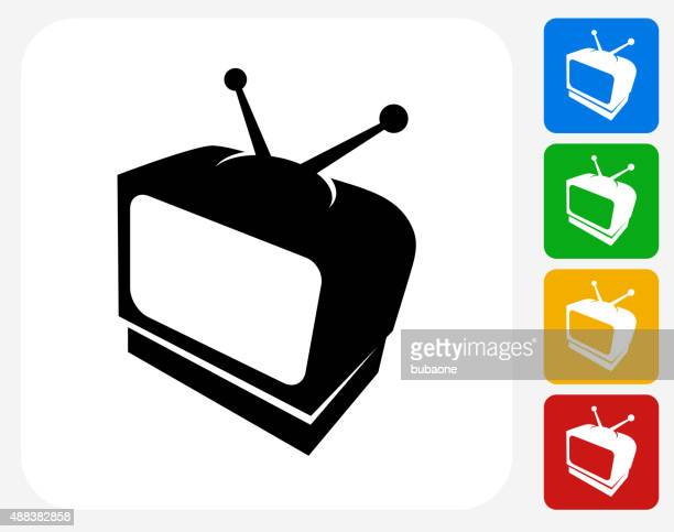 television icon flat graphic design - television aerial stock illustrations, clip art, cartoons, & icons