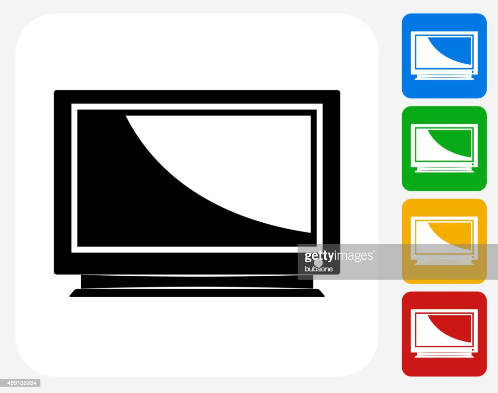 Television Icon Flat Graphic Design