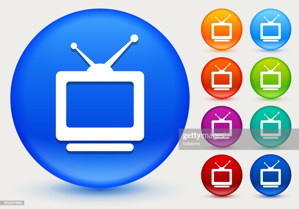 Television Icon on Shiny Color Circle Buttons : Vector Art