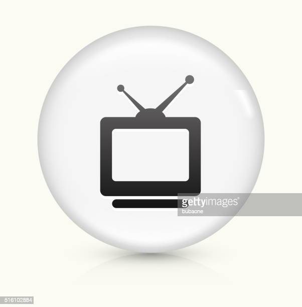 television icon on white round vector button - television aerial stock illustrations, clip art, cartoons, & icons