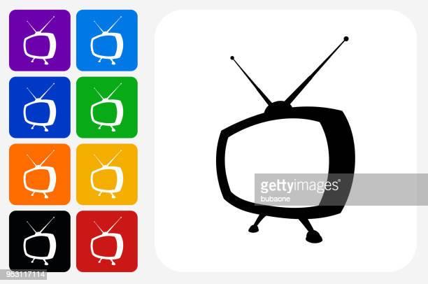 Jeu de bouton de télévision icône carré