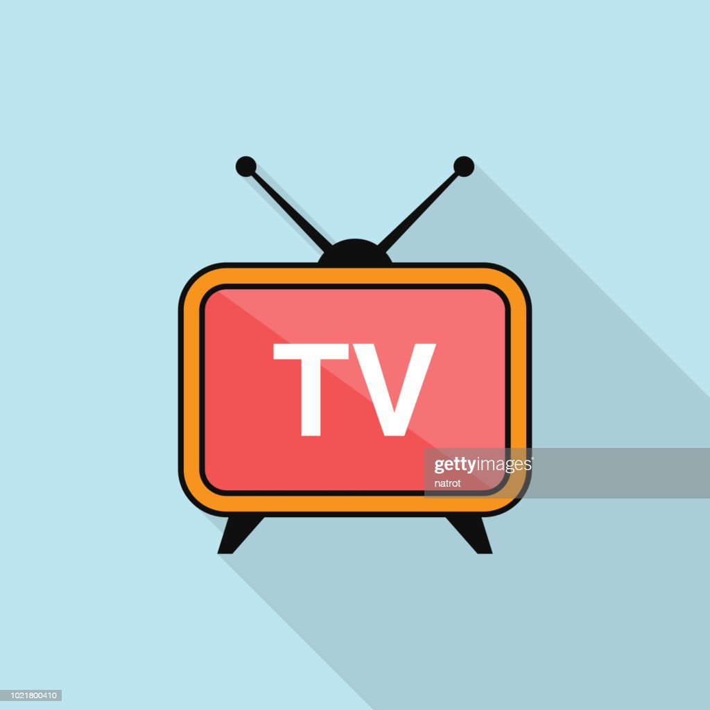Television icon with long shadow on blue background, flat design style