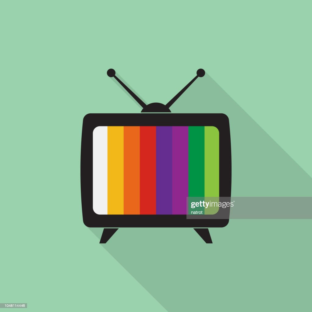 Television icon with long shadow on green background, flat design style