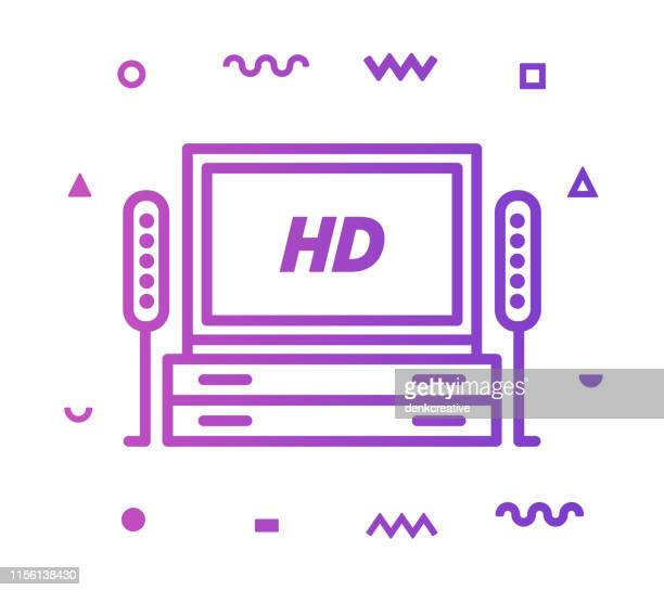 television industry line style icon design - hd stock illustrations