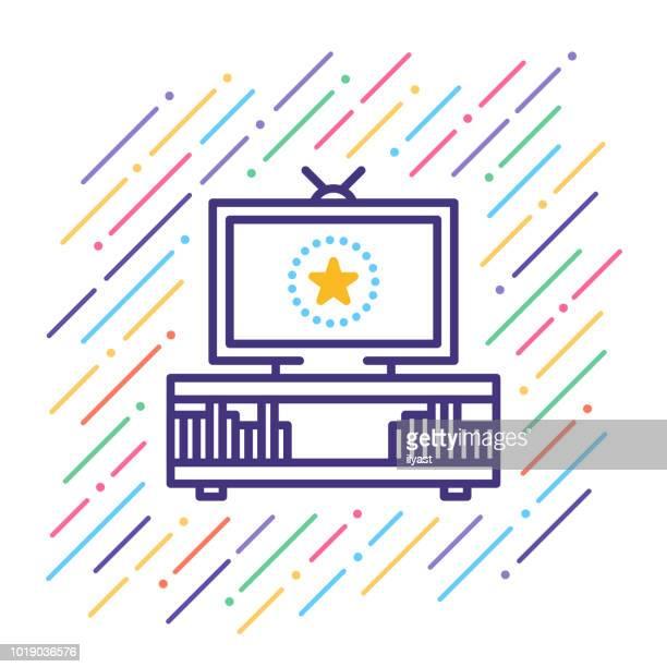 bildbanksillustrationer, clip art samt tecknat material och ikoner med tv-ikon - film and television screening