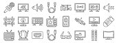 television line icons linear set quality
