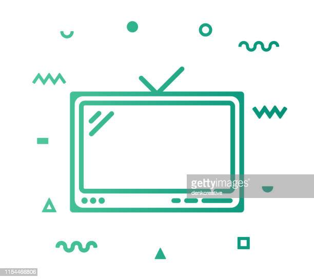 television line style icon design - high definition television television set stock illustrations