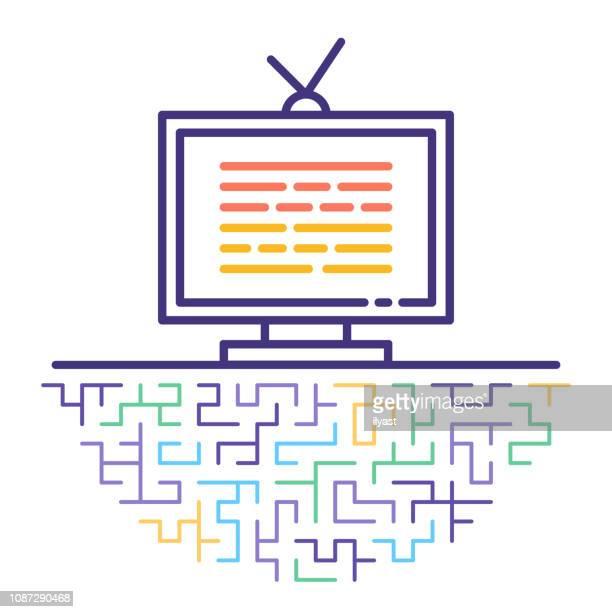 bildbanksillustrationer, clip art samt tecknat material och ikoner med tv-scheman vektor linje ikon illustration - film and television screening