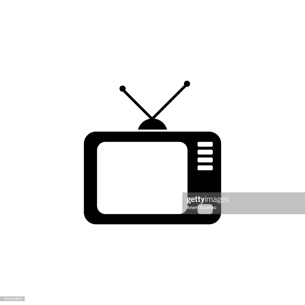 Television with antenna , vector icon - Illustration