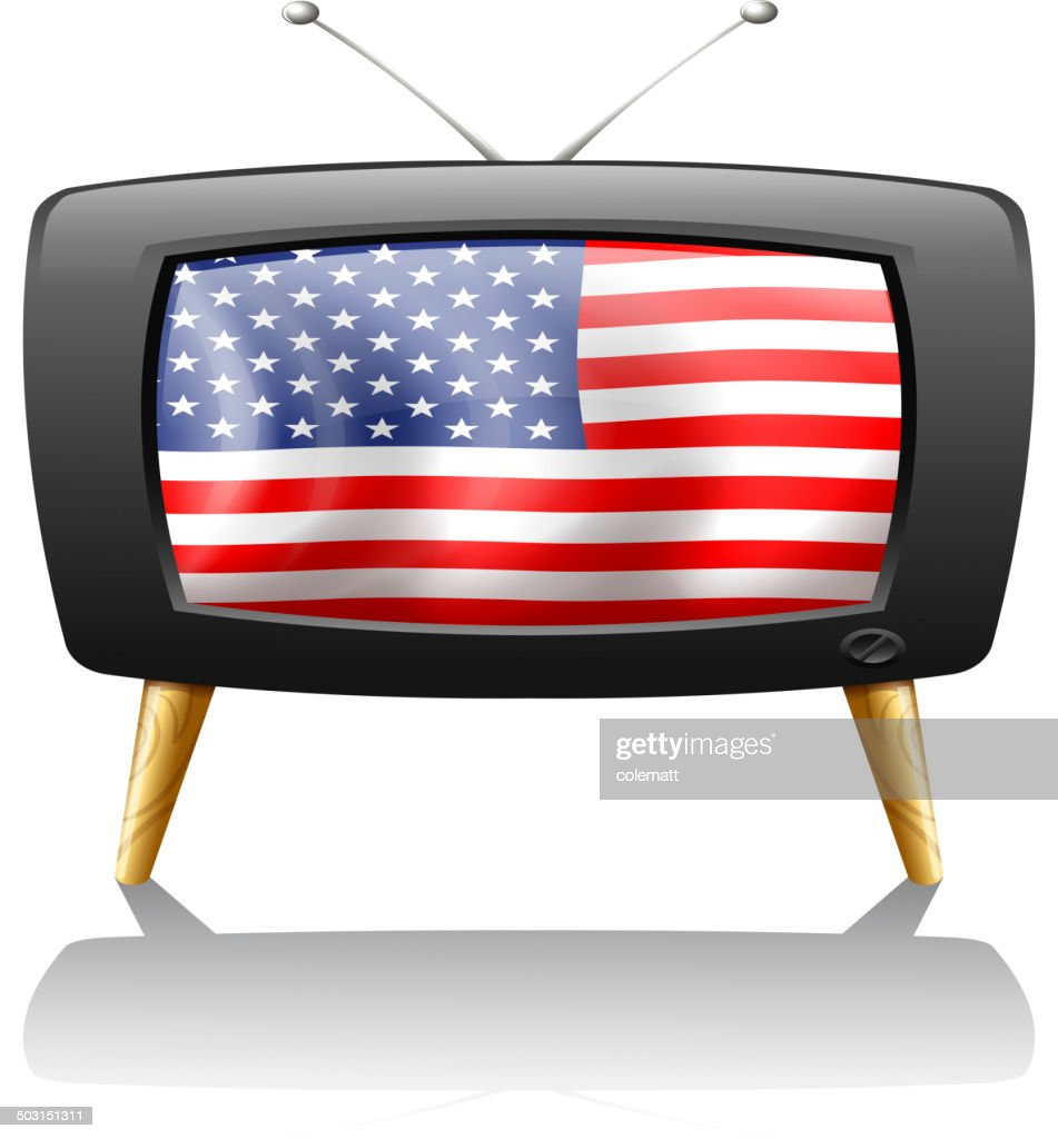 Television with the flag of the USA