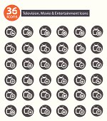 Television,Applicat ion icons,Gray version vector
