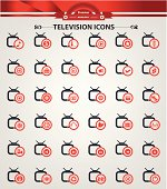 Television,Applicat ion icons,Red version,vector
