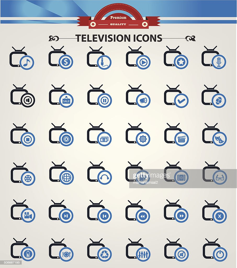 Television,Application icons,Blue version,vector