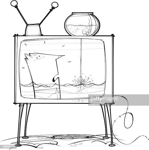 televison & goldfish - fishbowl stock illustrations, clip art, cartoons, & icons