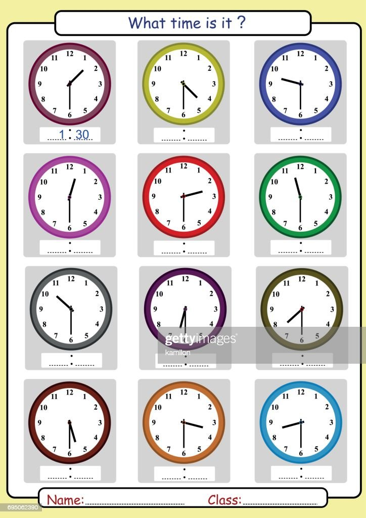 Telling the time, what is the time, Half hours