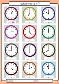 telling time worksheet, what time is it