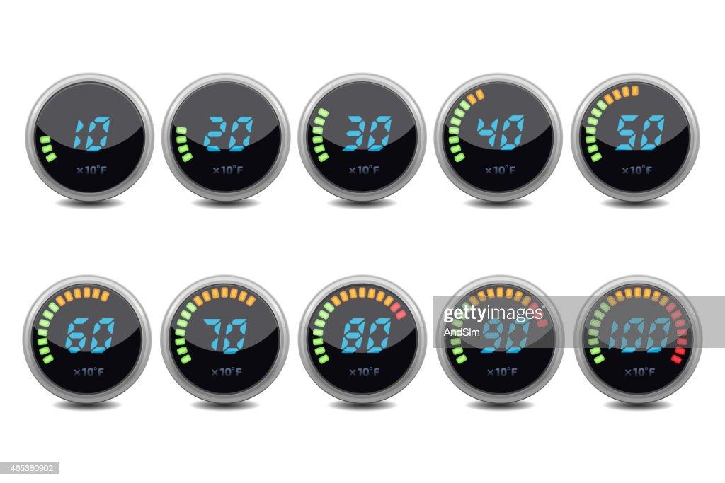 Temperature gauge digital set