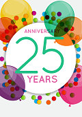 Template 25 Years Anniversary Congratulations, Greeting Card, Invitation Vector Illustration