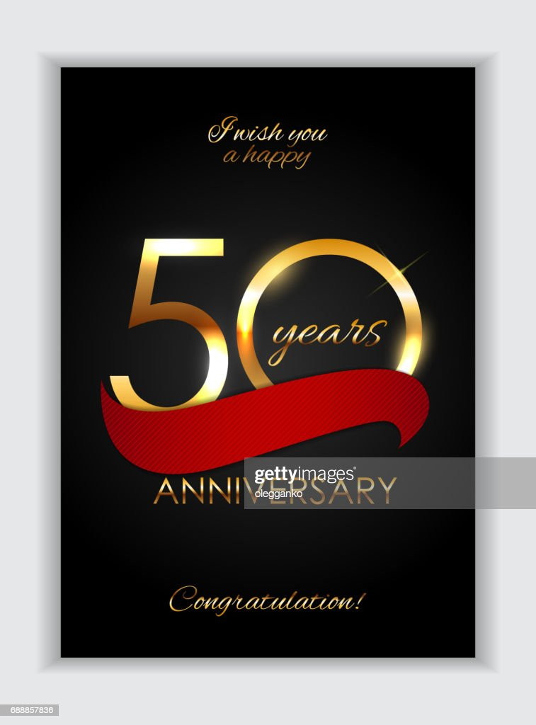Template 50 Years Anniversary Congratulations Vector Illustration
