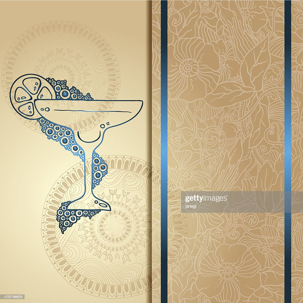 Template card with glass and bubbles, vector illustration.