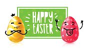 Template design banner for easter egg hunt event. Invitation for happy easter holiday with caartoon emotional character eggs. Vector.