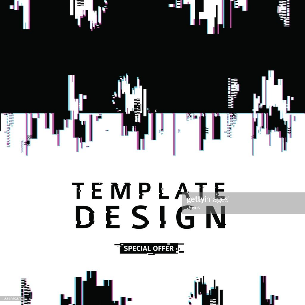 Template design banner glitch style.  Vector distorted  background texture. Computer screen error. Digital layout with broken noise abstract pixel effect.  Advertising with modern backdrop. Vector