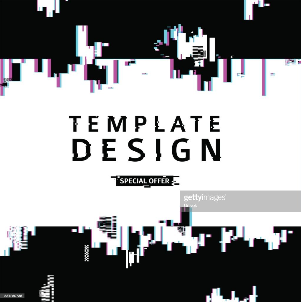 Template design banner glitch style.  Vector distorted  background texture. Computer screen error. Digital layout with broken noise abstract pixel effect.  Advertising with abstract backdrop. Vector