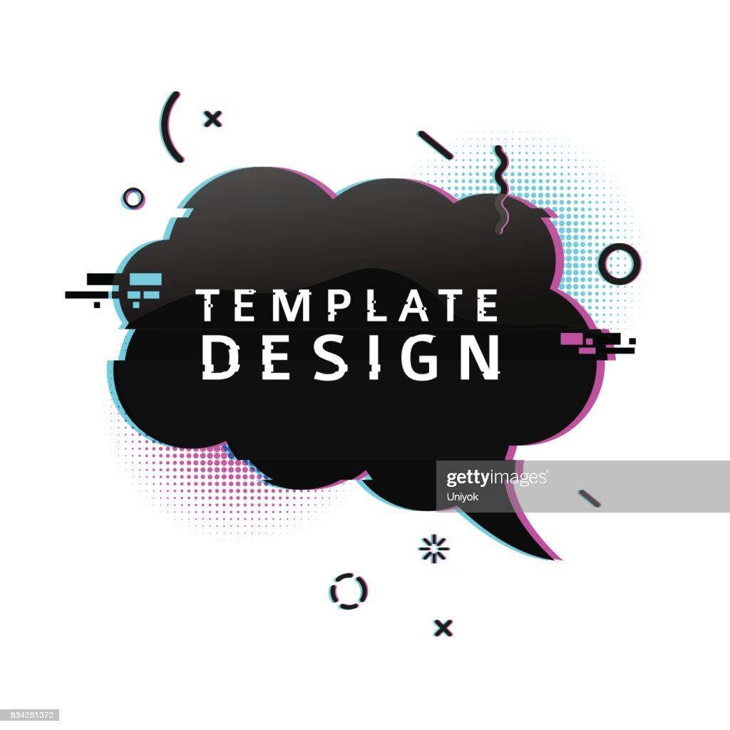 Template design banner with glitch effect. Horizontal black cloud speech bubble layout poster with broken particles. Banner with pixel graphics and geometric crash element. Vector