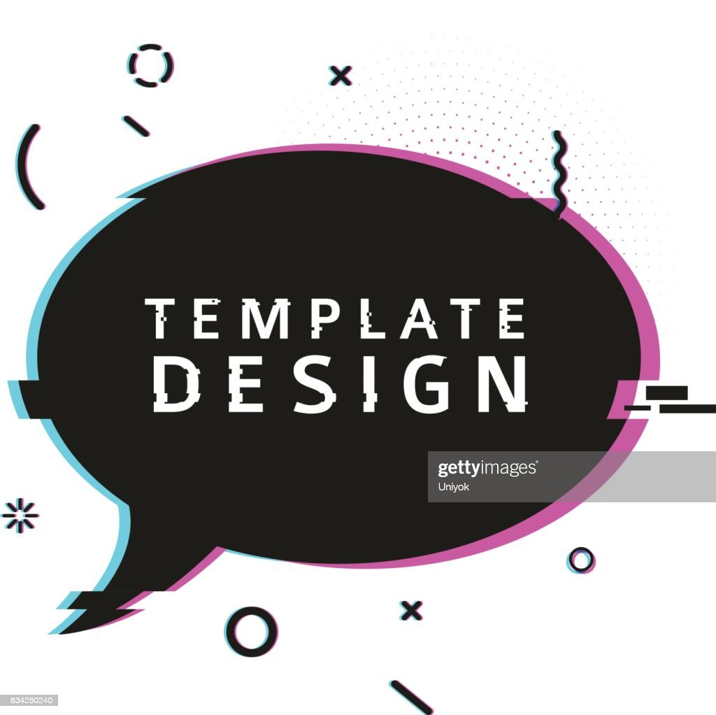 Template design banner with glitch effect. Horizontal black speech bubble layout poster with broken particles. Banner with pixel graphics and geometric crash element. Vector