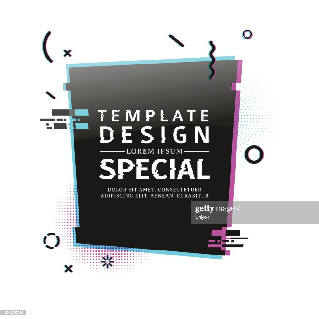 Template design banner with glitch effect. Vertical black rectangle layout poster with broken particles. Banner with pixel graphic and geometric  crash element.  Vector