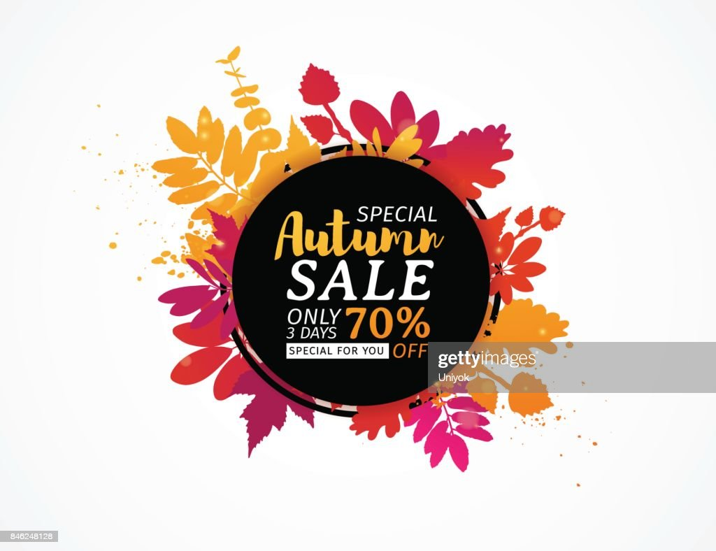 Template design black  circle autumn sale banner with decor color silhouette of plants. Sign of promotion and discounts offer of the nature of the fall season with leaves of maple. Vector.