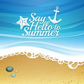 Template design. Cartoon background with beach and sea.
