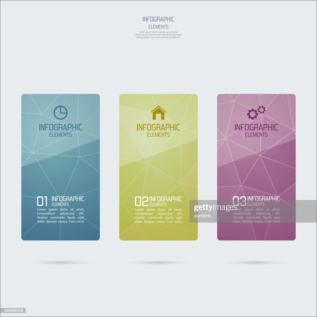Template design colored glass Infographics.