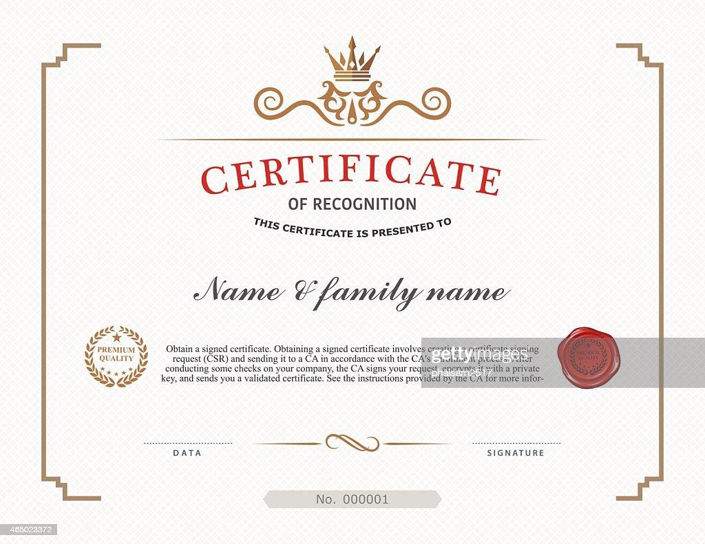 A template design for a certificate