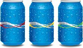 Template design for Blue aluminum cans with waves