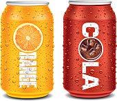 template design for orange, cola aluminum can