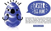Template design horiznotal banner for Easter egg hunt. Invitation for Easter with  funky blue egg with emotional emoji.  Vector.