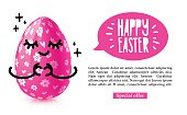 Template design horiznotal banner for Happy easter. Invitation for Easter with  cute pink egg with emotional emoji.  Vector.