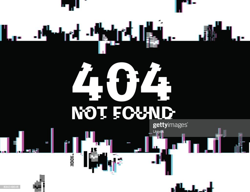 Template design internet banner with glitch effect. Horizontal black  layout website page 404 with broken particles. Banner error page with pixel graphic and geometric crash element.  Vector