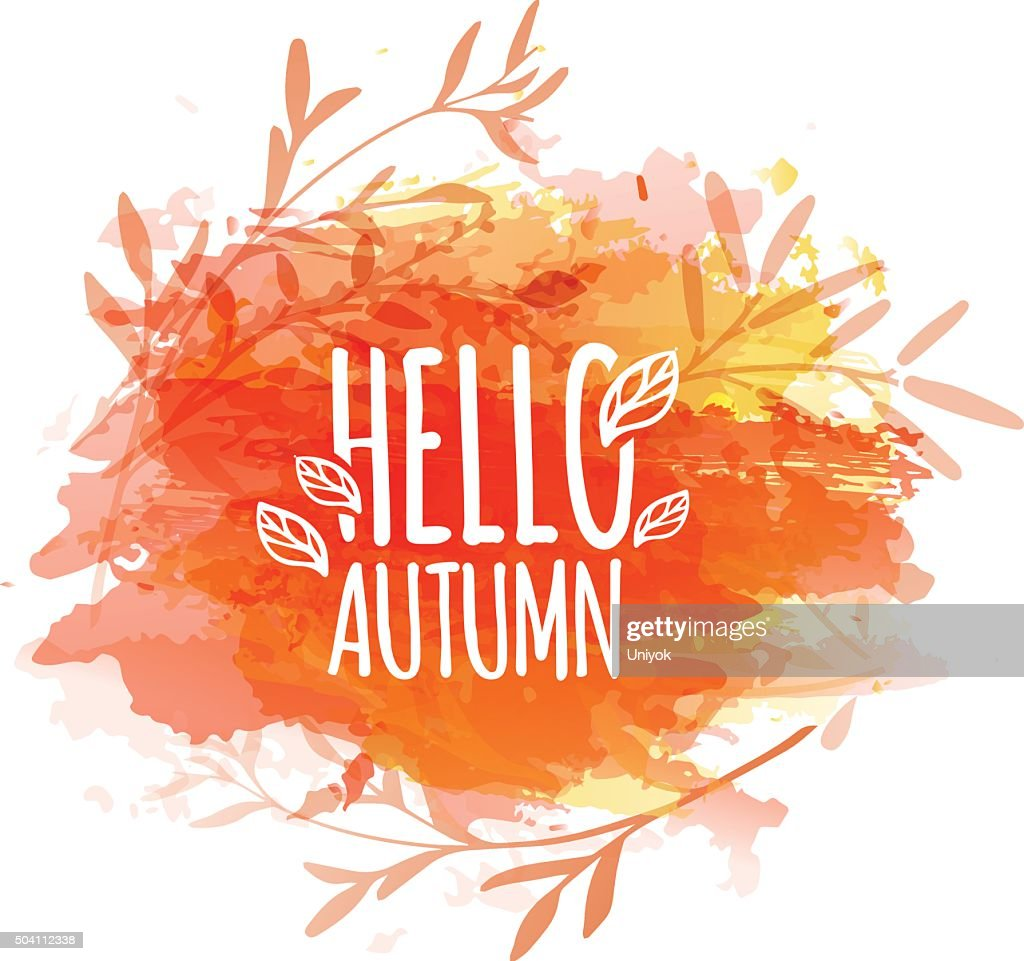 Template design of logo, stamp silhouette Hello, Autumn.