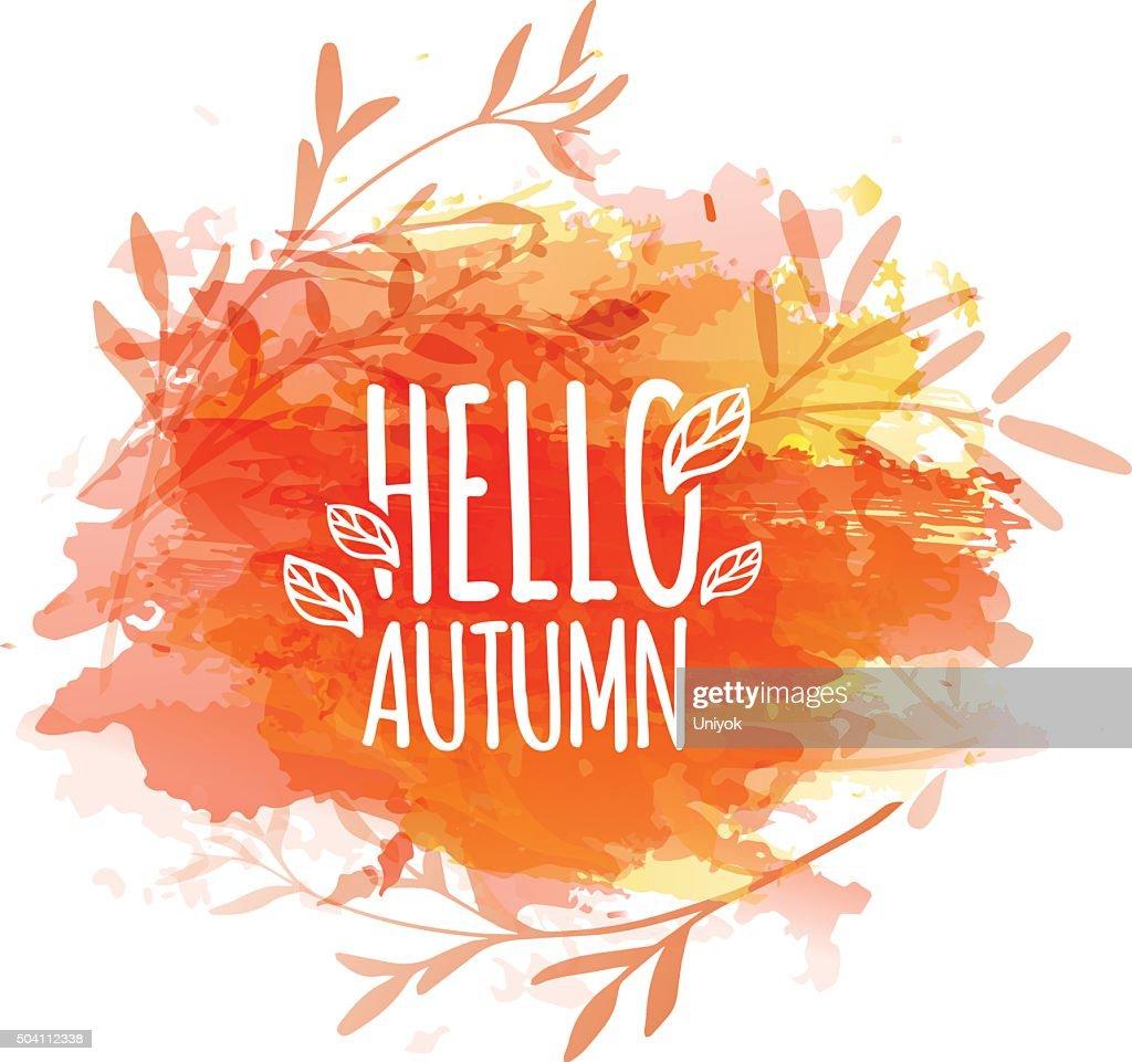 Template design of logo, stamp silhouette Hello, Autumn.