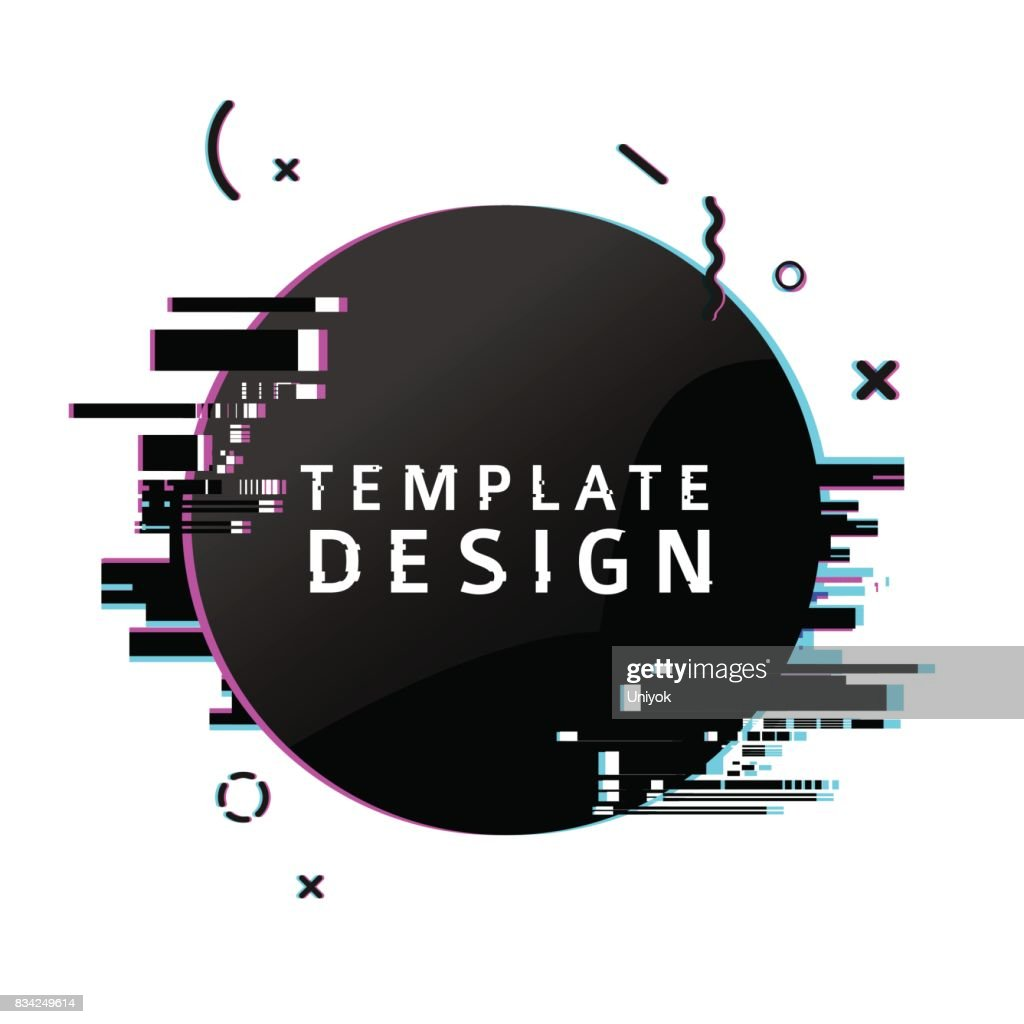 Template design round banner with glitch effect. Circle black  layout poster with broken particles. Banner with pixel graphic and geometric  crash element.  Vector