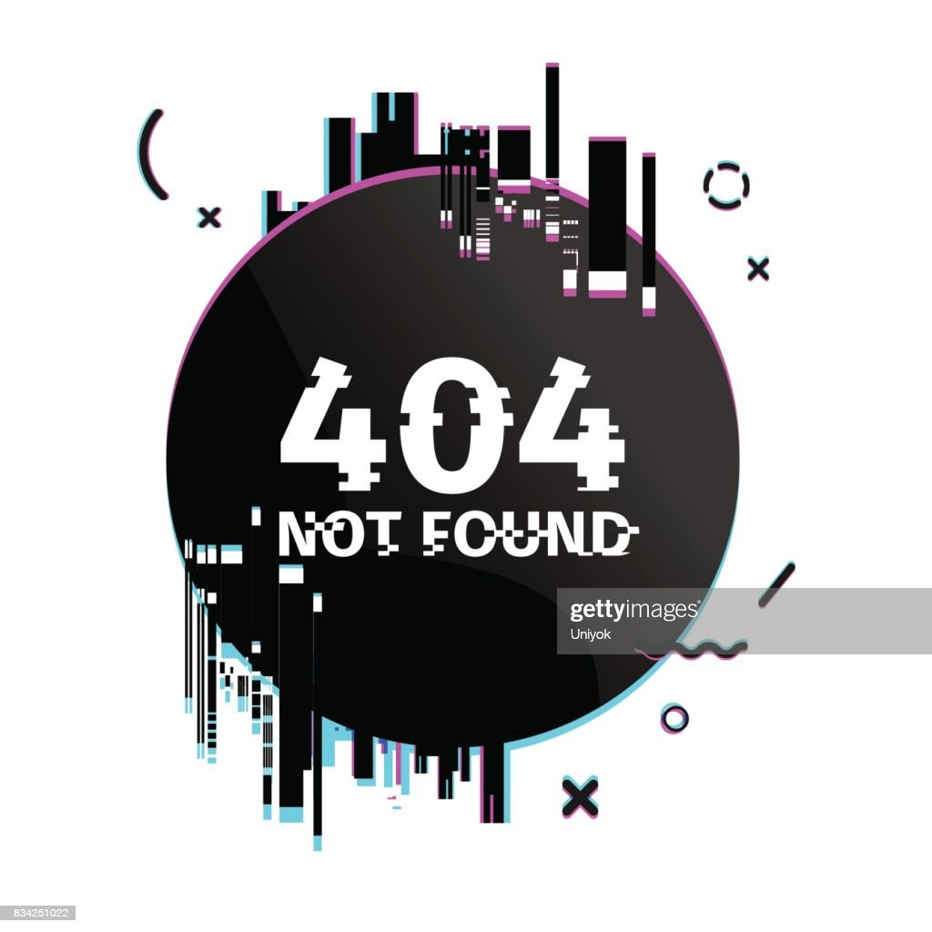 Template design round internet banner with glitch effect. Circlel black layout website page 404 with broken particles. Banner error page with pixel graphic and geometric crash element.  Vector