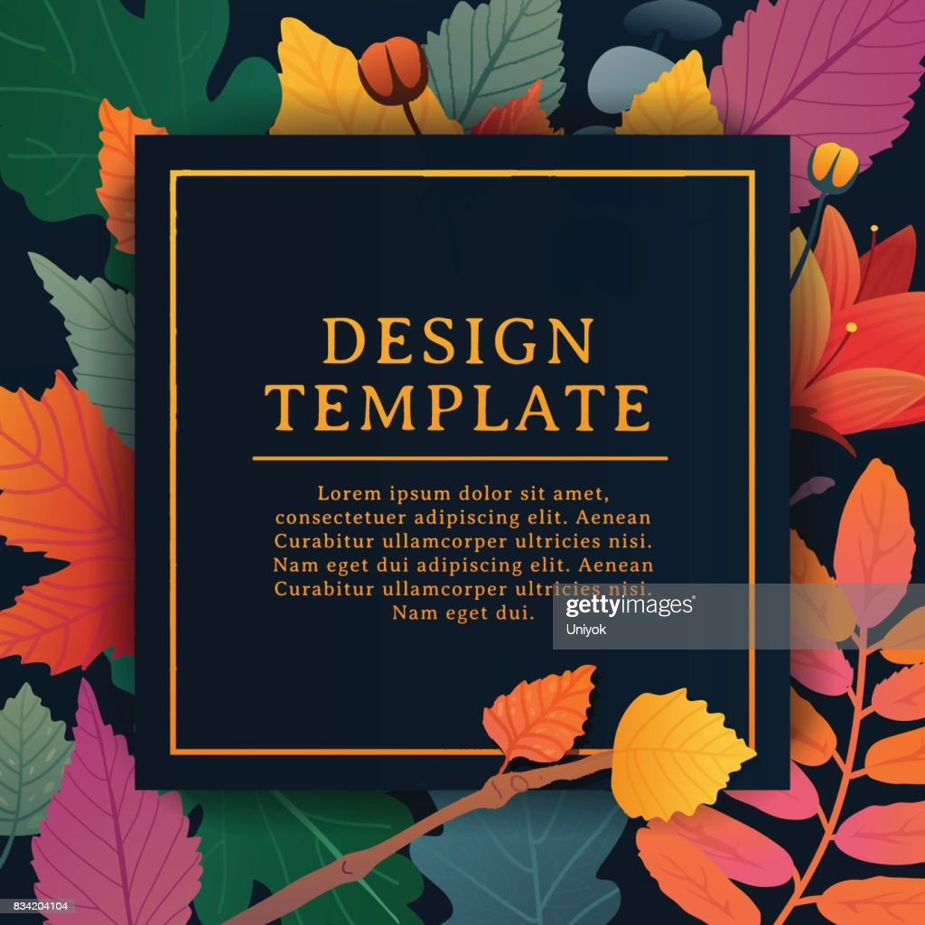 Template design square banner for fall season with white frame and herb. Promotion offer with autumnal oak plant, maple leave and flowers decoration. Vector