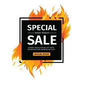 Template design square banner with Special sale. Black card for hot offer with frame fire graphic. Advertising poster layout with flame border on white background. Vector.