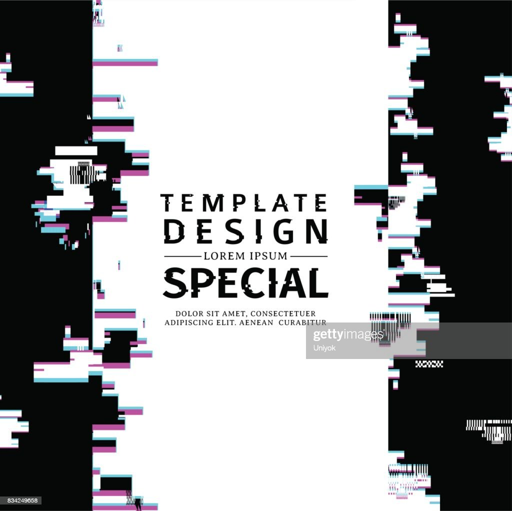 Template design  vertical banner glitch style.  Vector distorted  background texture. Computer screen error. Digital layout with broken noise abstract pixel effect.  Advertising with modern backdrop. Vector