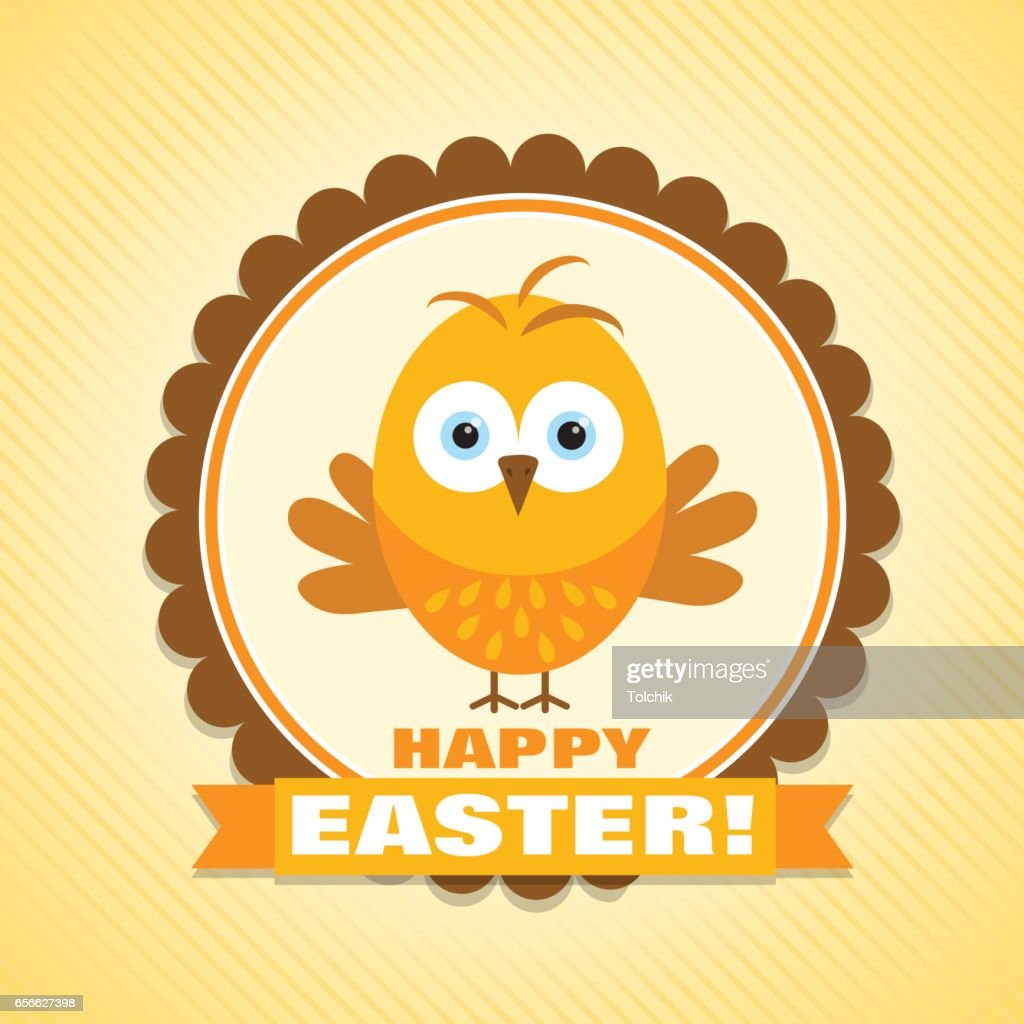 Template Easter Greeting Card Chick Vector Vector Art Getty Images