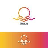 Template emblem for sunny. Colorful sun and sea emblem